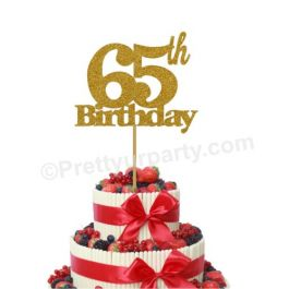 65th Birthday Theme Cake Topper