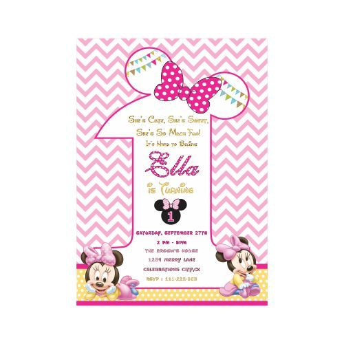 Baby Minnie Mouse 1st Birthday Theme E Invitations