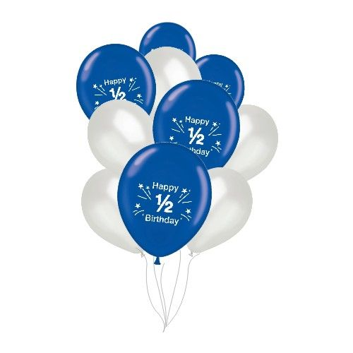 Blue And Silver 1 2 Birthday Balloons