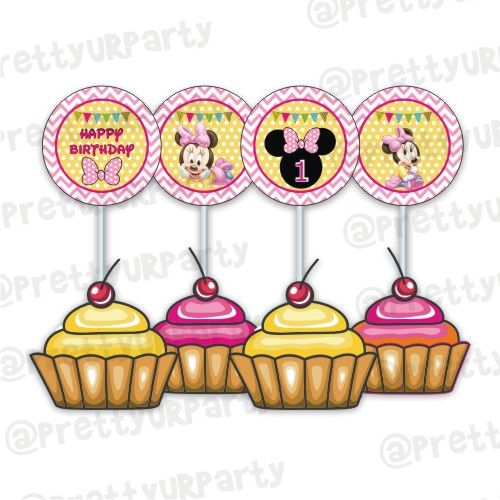 Astounding Baby Minnie Mouse 1St Birthday Cupcake Toppers Food Toppers Funny Birthday Cards Online Kookostrdamsfinfo