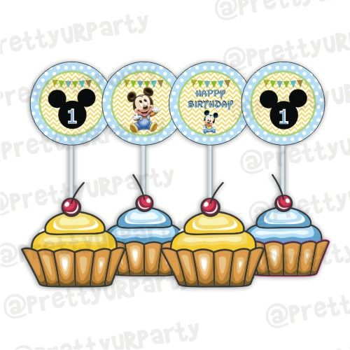 Surprising Baby Mickey Mouse 1St Birthday Cupcake Toppers Food Toppers Personalised Birthday Cards Petedlily Jamesorg
