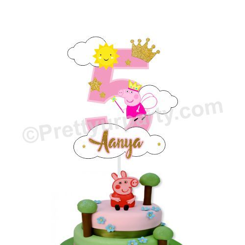 Admirable Peppa Pig Cake Topper Funny Birthday Cards Online Overcheapnameinfo