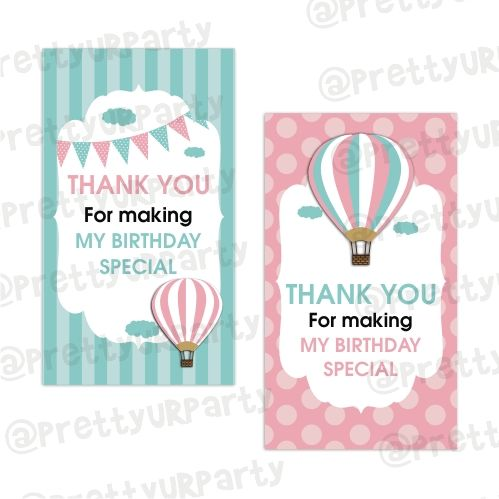 Hot Air Balloon Theme Thankyou Cards Hot Air Balloon Favor Tags
