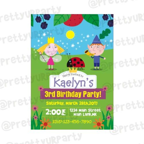 Ben And Holly S Little Kingdom Theme Invitations Ben And Holly S