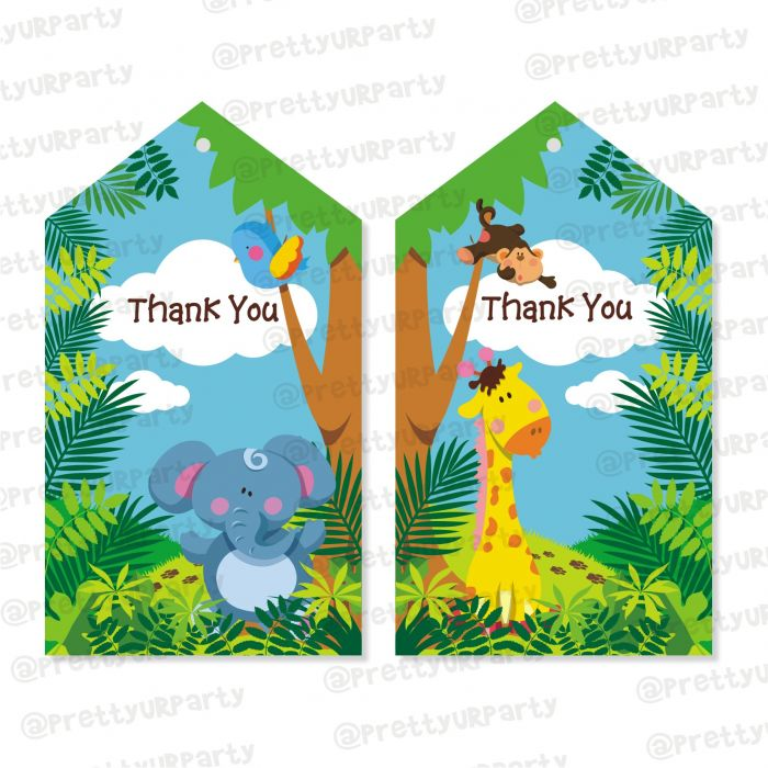 Relatively Jungle Theme Thankyou Cards | Jungle favor tags YL55