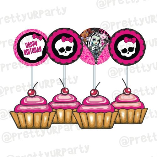 Phenomenal Monsters High Cupcake Toppers Food Toppers Personalised Birthday Cards Beptaeletsinfo