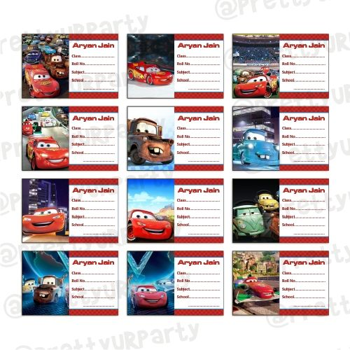 Disney Cars Inspired Book Name Labels