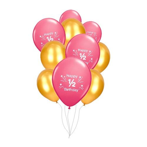 Pink And Gold 1 2 Birthday Balloons