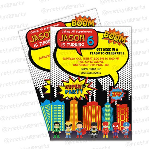 superhero theme invitations superhero invites