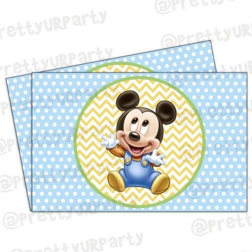 Baby Mickey Mouse 1st Birthday.Baby Mickey Mouse 1st Birthday Table Mats