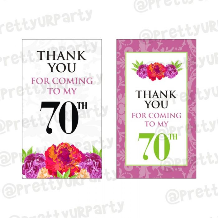 Awesome 70Th Birthday Thankyou Cards 70Th Birthday Favor Tags Personalised Birthday Cards Veneteletsinfo