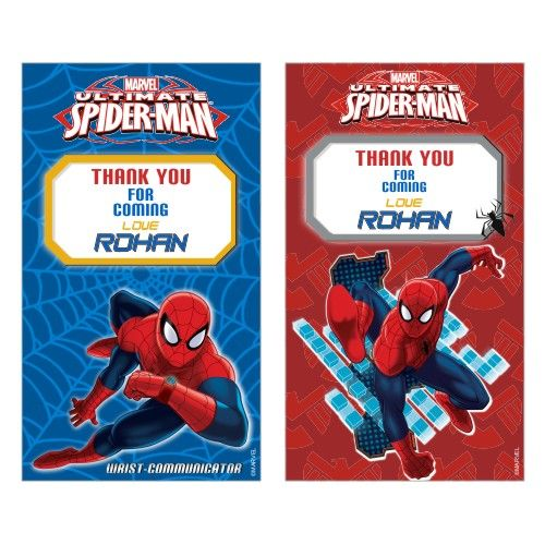 Spiderman Theme Thankyou Cards Spiderman Favor Tags