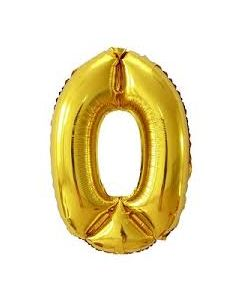 "Foil 0 Number Balloon 16"" - Gold"