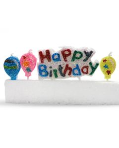 happy birthday glitter candle