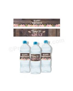 18th Birthday Theme Water Bottle Labels