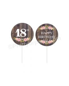 18th Birthday Theme Cupcake / Food Toppers