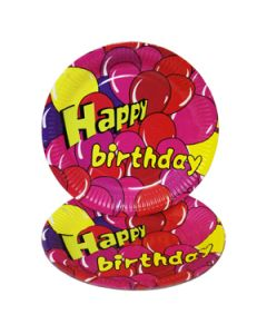 happy birthday pink balloon paper plates