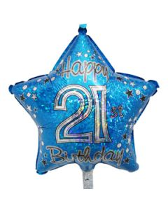 21st birthday star foil balloon