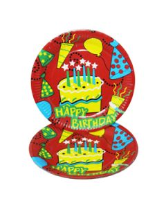 happy birthday red cake paper plates