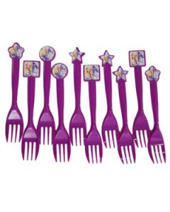barbie themed plastic forks