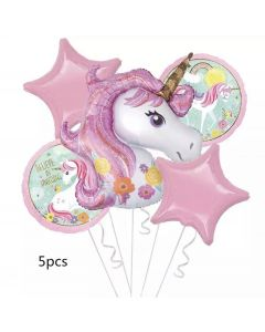 Unicorn Foil Balloons - Pack of 5