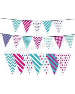 Pink and Blue Pattern Bunting