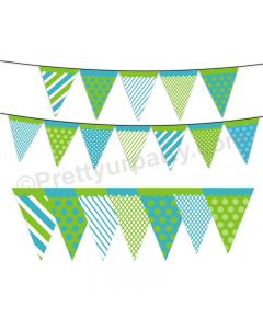 Blue and Green Pattern Bunting
