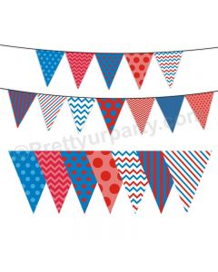 Blue and Red Pattern Bunting