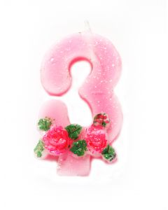 3 number Rose Candle