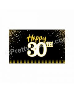 Gold and Black 30th Birthday Theme Backdrop