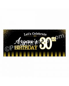 Personalized Gold and Black 30th Birthday Theme Banner 30in