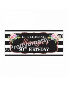 Personalized Pink and Black 30th Birthday Theme Banner 30in