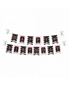 Pink and Black 30th Birthday Theme Bunting