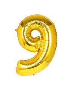 "Foil 9 Number Balloon 18"" - Gold"