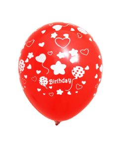 printed latex balloons - happy birthday with balloons and flowers
