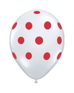 Polka Dots Latex Balloons - White with Red dots
