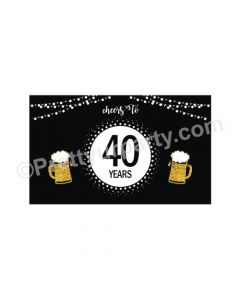 Cheers to 40th Birthday Theme Backdrop