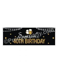 Personalized Cheers to 40th Birthday Theme Banner 30in
