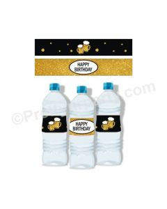 Cheers to 40th Birthday Theme Water Bottle Labels