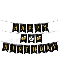 Cheers to 40th Birthday Theme Bunting