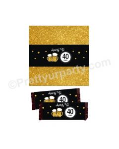 Cheers to 40th Birthday Theme Chocolate Wrappers