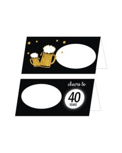 Cheers to 40th Birthday Theme Food Labels / Buffet Table Cards