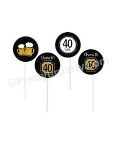 Cheers to 40th Birthday Theme Cupcake / Food Toppers