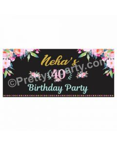 Personalized 40th Birthday Theme Banner 30in
