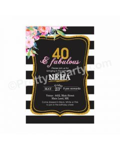 40th Birthday Theme Invitations