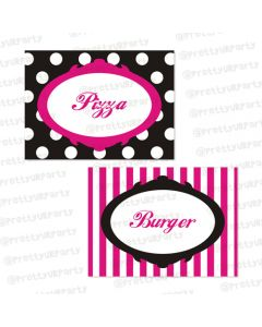 barbie labels / buffet table cards