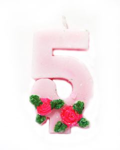 5 number Rose Candle