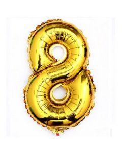 "Foil 8 Number Balloon 18"" - Gold"