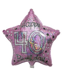 40th birthday star foil balloon