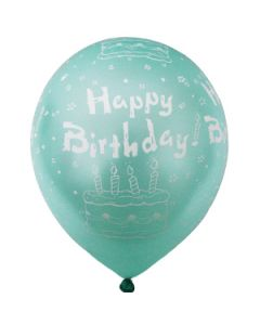 printed latex balloons - happy birthday metallic
